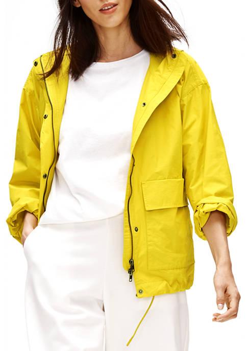 Eileen Fisher Womens Organic 2 Pocket Hooded Coat