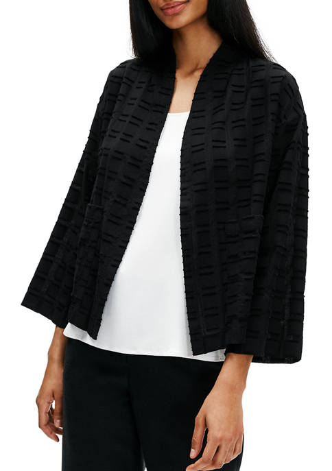 Eileen Fisher Womens High Collar Bracelet Sleeve Jacket