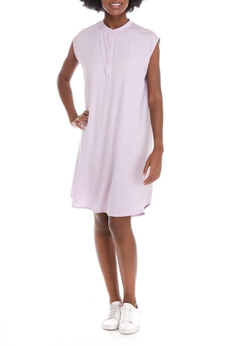 Womens Mandarin Collar Knee Length Dress