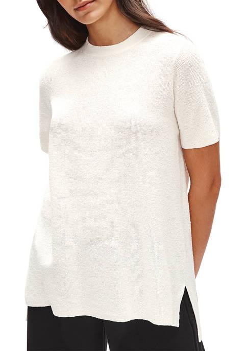 Eileen Fisher Womens Organic Linen Mock Neck Short
