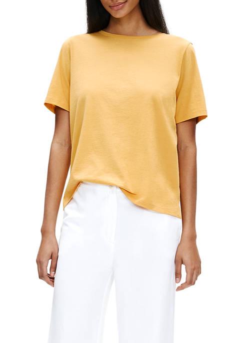 Eileen Fisher Womens Crew Neck Short Sleeve T-Shirt