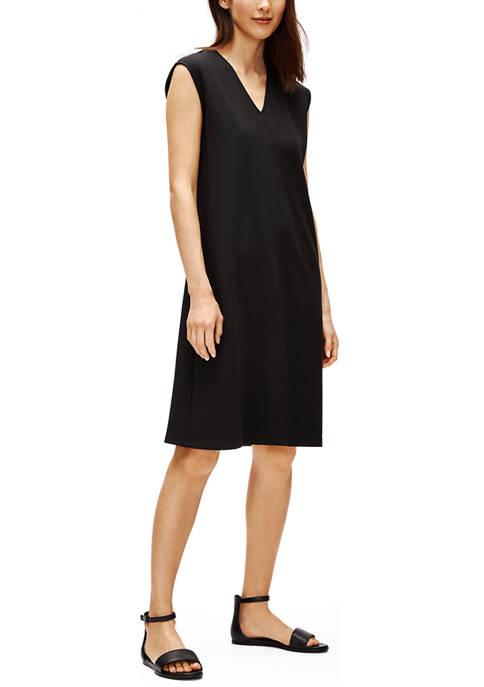 Eileen Fisher Womens V-Neck Knee Length Dress