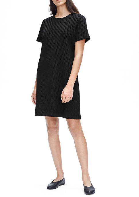 Eileen Fisher Womens Round Neck Short Sleeve Knee