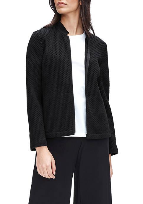 Eileen Fisher Womens Stand Collar Zip Jacket