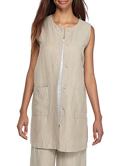 Eileen Fisher Round Neck Long Vest