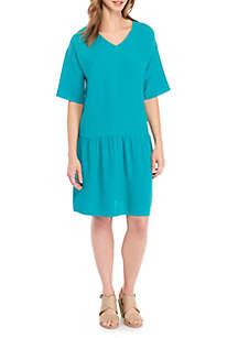 V-Neck Elbow Sleeve Short Dress