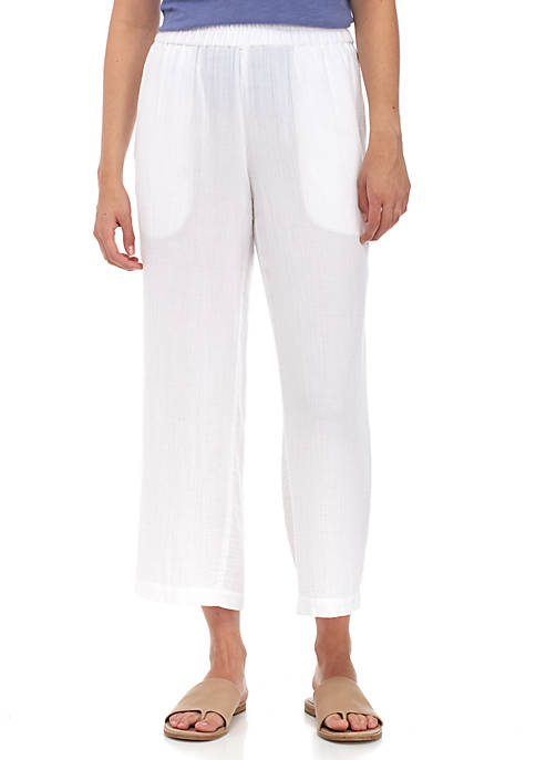 Eileen Fisher Organic Cotton Gauze Straight Cropped Pants