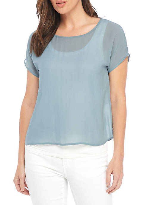 Eileen Fisher Ballet Neck Short Sleeve Top