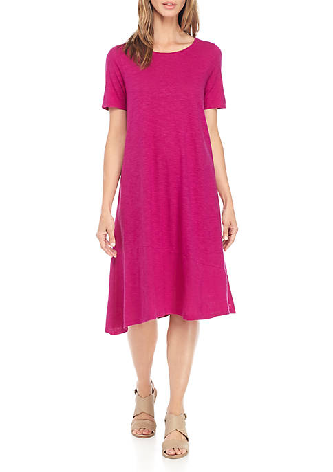 Eileen Fisher Jewel Neck Short Sleeve Asymmetric Dress