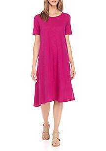 Jewel Neck Short Sleeve Asymmetric Dress