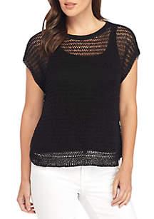 Jewel Neck Cap Sleeve Top