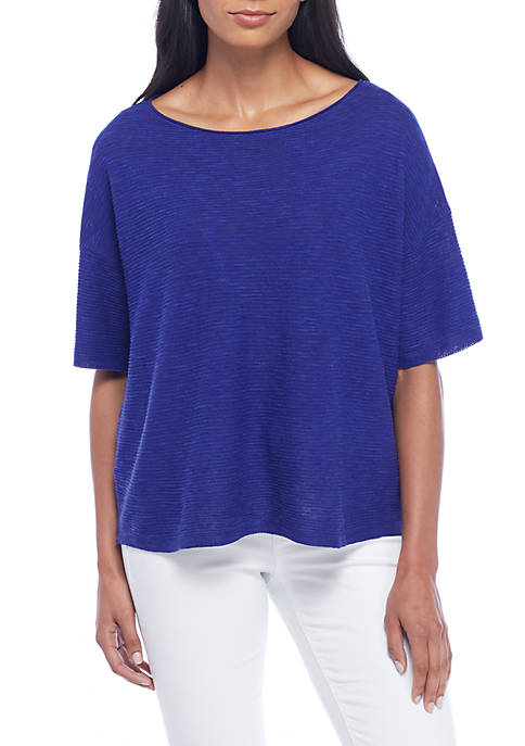 Eileen Fisher Bateau Neck Short Sleeve Box Top