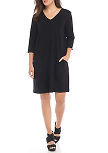V-Neck 3/4 Sleeve A-Line Dress