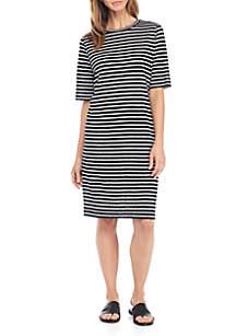 Round Neck Elbow Sleeve Dress