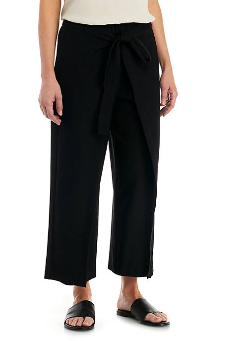 Eileen Fisher Tie Front Cropped Pants