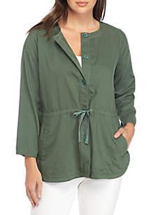 Round Neck Three-Quarter Sleeve Shirttall Jacket