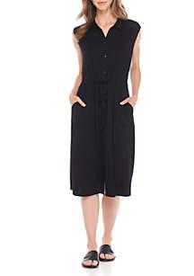 Knee Length Classic Collar Shirt Dress