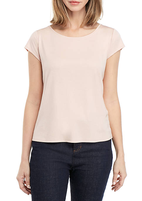 Round Neck Cap Sleeve T Shirt