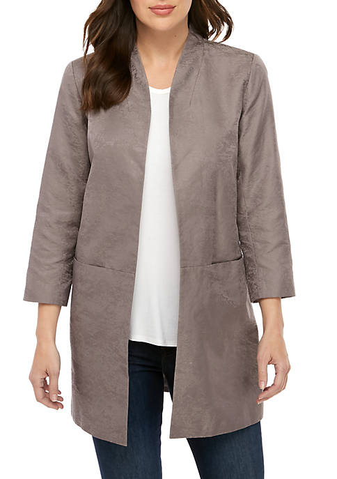 Eileen Fisher Satin Jacquard Stand Collar Jacket
