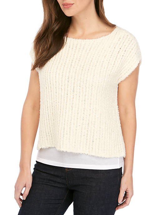 Eileen Fisher Bateau Neck Cap Sleeve Eyelash Sweater