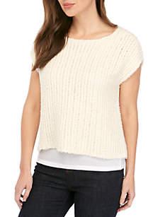 Eileen Fisher Bateau Neck Cap Sleeve Eyelash Sweater