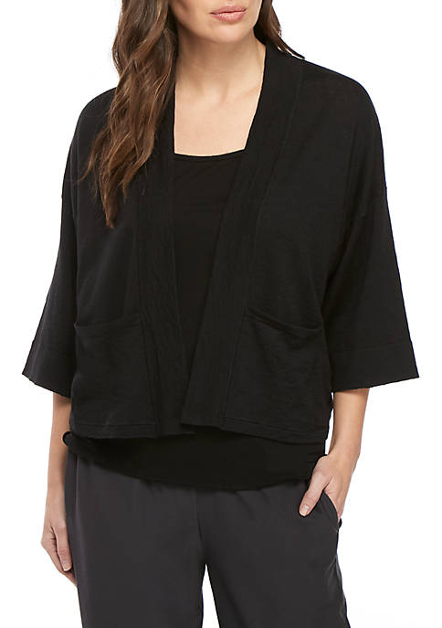 Eileen Fisher 3/4 Sleeve Open Front Boxy Cardigan