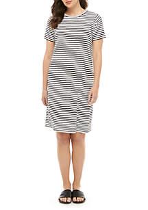 Eileen Fisher Round Neck Short Sleeve Linen Stripe Dress