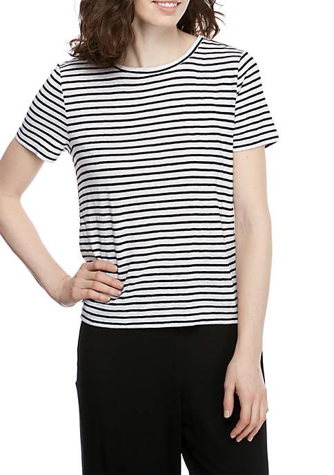 Round Neck Cap Sleeve Striped T Shirt