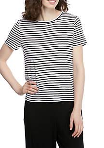 Eileen Fisher Round Neck Cap Sleeve Striped T Shirt