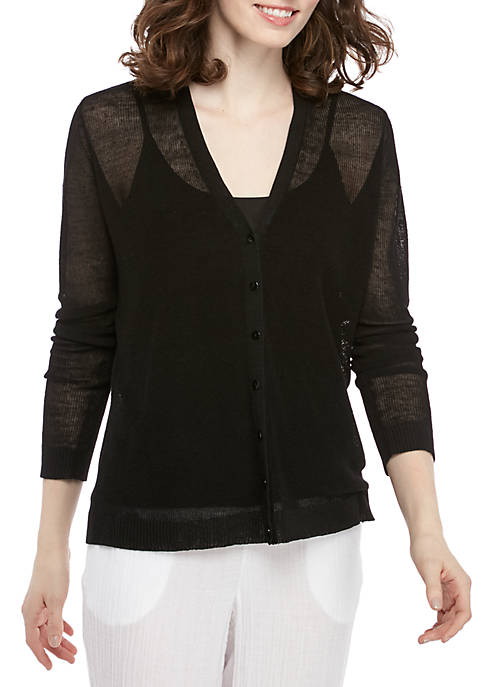 Eileen Fisher V Neck Button Cardigan
