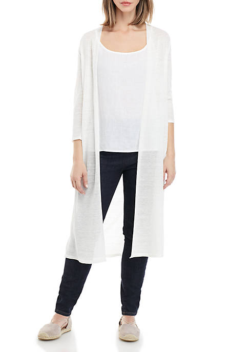 Eileen Fisher 3/4 Sleeve Open Maxi Cardigan