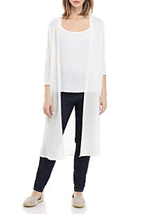 Eileen Fisher 3/4 Sleeve Open Maxi Cardigan