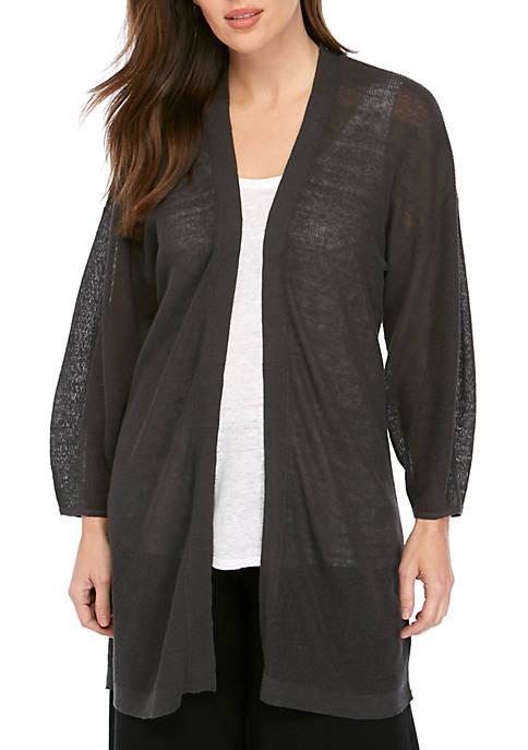 Eileen Fisher Blouson Sleeve Open Front Cardigan