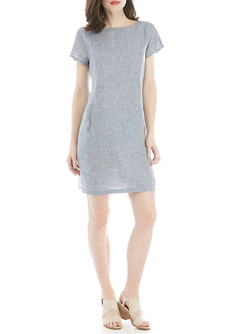 Chevron Linen Cap Sleeve Dress