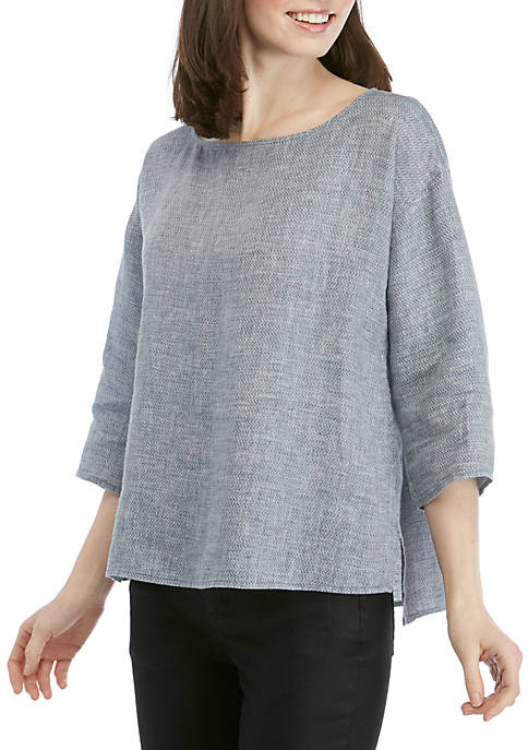 Eileen Fisher Bateau Neck Chevron Linen Top