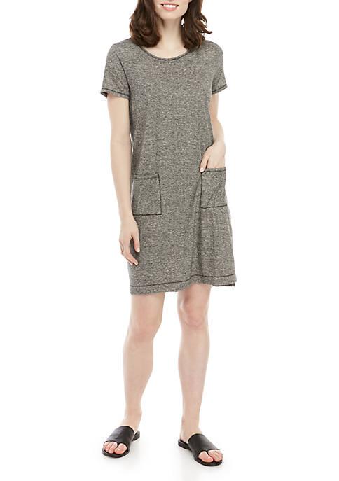 Eileen Fisher Scoop Neck 2 Pocket Stripe Dress