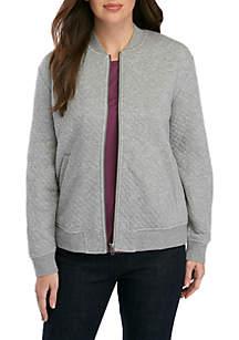Eileen Fisher Diamond Double Knit Bomber Jacket