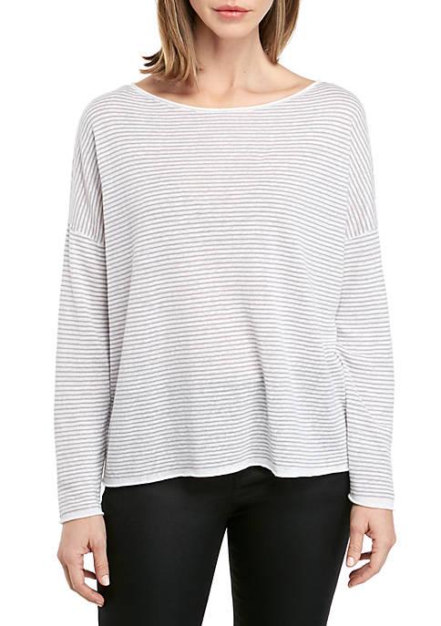 Boat Neck Stripe Box Sweater