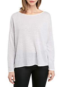 Eileen Fisher Boat Neck Stripe Box Sweater