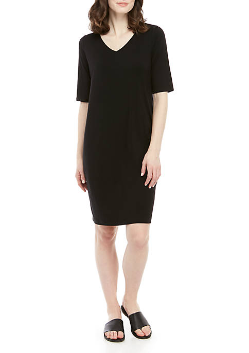 Eileen Fisher Elbow Sleeve Knit Shift Dress