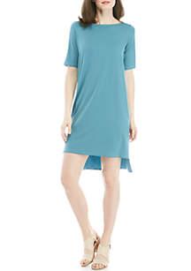 Eileen Fisher Ballet Neck Elbow Sleeve Knit Dress