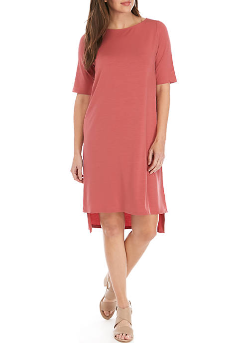 Eileen Fisher Ballet Neck Elbow Sleeve Knit Dress