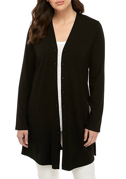 Eileen Fisher Long Button Front Jersey Cardigan