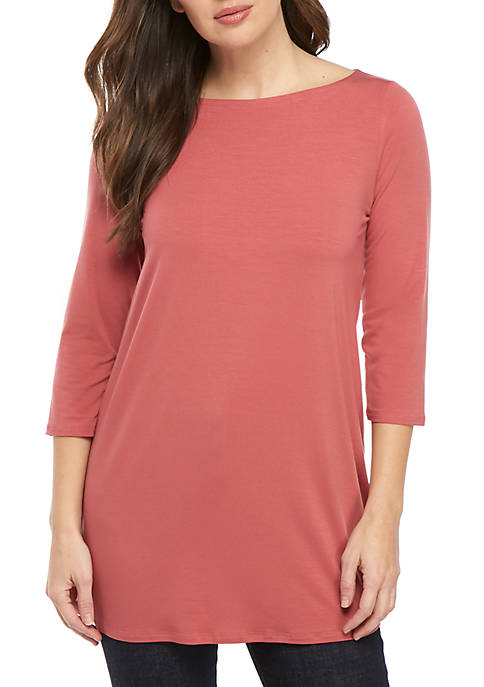 Eileen Fisher 3/4 Sleeve Boat Neck Top