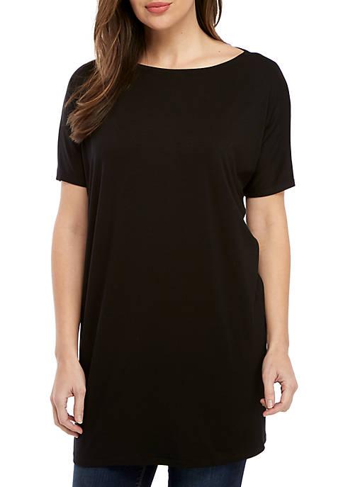 Eileen Fisher Short Sleeve Bateau Neck Jersey Dress