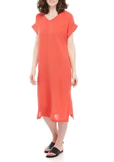 Eileen Fisher Short Sleeve V Neck Gauze Dress