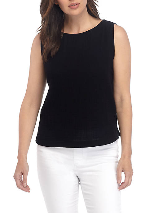 Eileen Fisher Sleeveless Gauze A Line Top