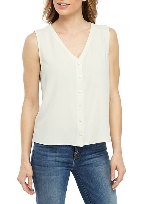 Eileen Fisher Button Front Sleeveless Crop Top