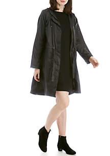Eileen Fisher Long Hooded Raincoat