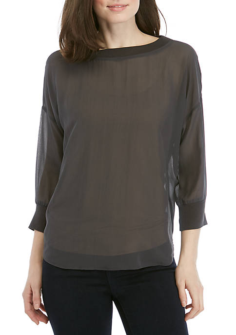 Eileen Fisher Sheer Silk Bateau Neck Top